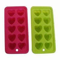 Wholesale Silicone 10 Heart Bar Soap Ice Cube Trays, Chocolate Jelly Mould Hearts, Comes in Pink, Lime Colors from china suppliers