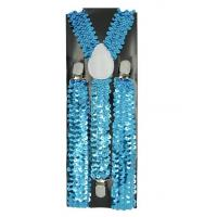 "Wholesale Men's Unisex Clip-on Braces Elastic Sequin ""Sky Blue"" Suspender Y-Back Adjustable from china suppliers"