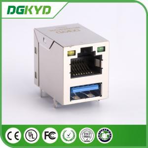 Quality KRJ - Usb03ygznl Stack RJ45 USB Connector Combo Modular Jack W / Led 1-1909119-4 RoHS for sale