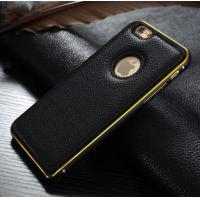 Metal Bumper Leather Cover Combo Mobile Phone Case For Apple iphone 6 6 Plus