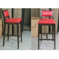 Wholesale Dark Walnut Modern Bar Chairs , Upholstered Walnut Breakfast Bar Stools With Red PU Leather from china suppliers