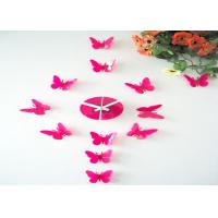Quality Pink 3D Butterfly Sticker Wall Clock for sale