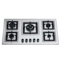 Wholesale Sliver Stainless Steel 5 Burner Gas Hob Built In 110/220V Ignition Square Pan Support from china suppliers