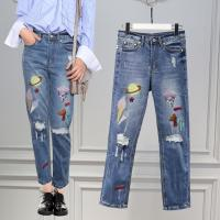 Wholesale Modern Loose Straight Printed Skinny Jeans For Women , Light Wash High Waisted Jeans from china suppliers