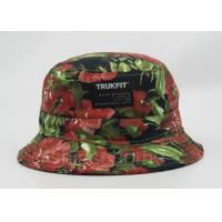 Buy cheap Flower Printed Fishing Bucket Hat Cotton With Woven Patch Washing Label from wholesalers
