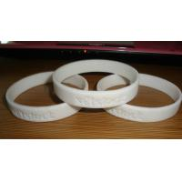 Wholesale Eco-friendly Custom Rubber Bracelets / wristband, Personalized  white Strength silicon wristband from china suppliers
