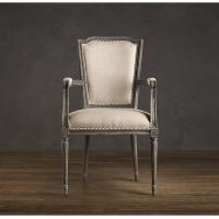 Wholesale High end cream striped Fabric Dining Chair with Antique brass nailhead trim from china suppliers