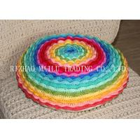 Wholesale Round Colorful Rainbow Multi - Layer Blooming Rose Chair Cushion Covers For Leaning On from china suppliers