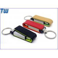 Quality Key Ring 8GB USB Flash Disk 2pcs PU Leather Cover Debossed 3D Logo for sale