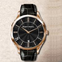 Wholesale Large Face Round Classic Automatic Watch Stainless Steel With Genuine Leather Band from china suppliers