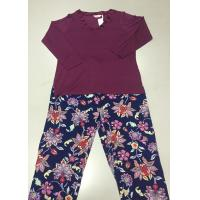 Wholesale Floral Printed Women Knit Pajamas Sets , Ladies Cotton Pyjamas Nightwear from china suppliers