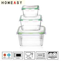 Wholesale Silicone Seal Square Pyrex Glass Food Containers With PP Lid  FDA LFGB from china suppliers