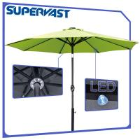 Quality Outdoor Patio LED Solar Powered Aluminium Market Umbrella Crank Tilt for sale