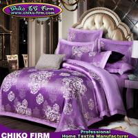 Wholesale Beatiful Home Using Purple Flowers Jacquard Luxury Bedding Sets from china suppliers