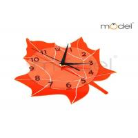 Wholesale Modern Home Decor Clocks Orange Maple Leaf Shape Silent Wall Clock from china suppliers