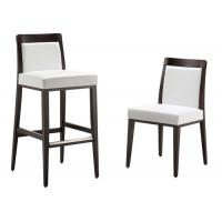 Wholesale Comfortable Modern Bar Chairs With Solid Wood Frame White Fabric Upholstered from china suppliers