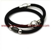 Wholesale Silicone+Elastic Fibre Fashion Jewelry Design Health Power Balance Silicone Bracelet from china suppliers