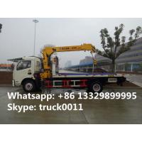 Wholesale Dongfeng 4*2 flatbed wrecker tow truck with telescopic/knuckle boom crane for sale, factory sale road recovery truck from china suppliers