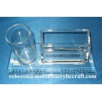 Wholesale Table Top Clear Acrylic Staionery Plexiglass Card Holder With Pen Holder from china suppliers