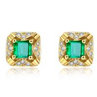Wholesale Natural Real Gemstone Jewelry With Real Diamonds Square Emerald Stud Earrings  from china suppliers