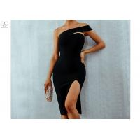 China One Shoulder Short Mermaid Bridesmaid Dresses Good Layout Sexy Open Slit Elastic for sale