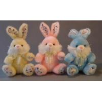Wholesale Long Hair Plush Easter Bunnies Small Stuffed Toys , Yellow / Pink / Blue from china suppliers