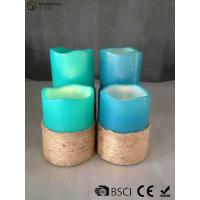 Quality Multi Colored Led Pillar Candles With Hemp Rope Home Decoration for sale