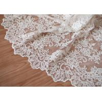 Wholesale Retro Embroidery Ivory Bridal Lace Fabric / Stretch Tulle Fabric For Wedding Dresses from china suppliers