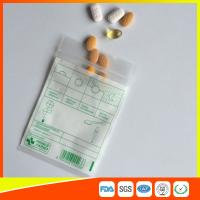 Tablet Drug Packaging Ziplock Pill Bags , Medicine Plastic Bag With Zip Seal for sale