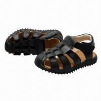 Quality Boy's sandals with soft real leather upper and soft TPR outsole for sale