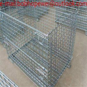 Wholesale folding wire mesh stroage pallet container cage/Folding wire cage/Folding Steel Wire Mesh Container/folded storage cage from china suppliers