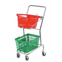 Wholesale Commercial Four Wheel Double Basket Shopping Trolley Cart 520x425x1010mm from china suppliers