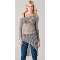 Wholesale Long Asymmetrical Sheer See Through Womens Knitted Sweaters With Long Sleeve from china suppliers