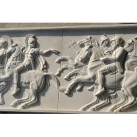 Wholesale White marble relief carved by hand/ War horse stone relief from china suppliers