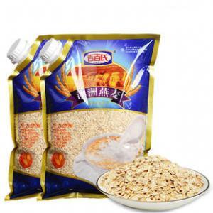 Quality Custom Print Three Side Seal Bag Clear Window For 1000g Oatmeal for sale