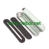Wholesale silver color oval long shape hinged lid metal tin pen box with foam from china suppliers