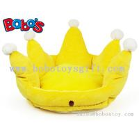 Wholesale Yellow Color Plush King Crown Style Pet Bed Puppy Dog Sofa from china suppliers