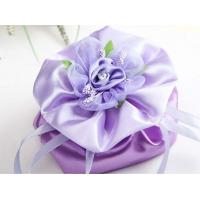 Wholesale purple satin flower drawstring bag from china suppliers