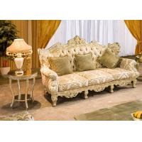 Wholesale Hand Carved Luxurious Lobby Wooden 3 Seater Sofa With Gold Leaf Finish from china suppliers