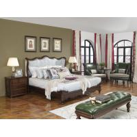 Quality American Western design style Villa Bedroom furniture Fabric Headboard Screen Wood Bed with Leather Bench and  Armchair for sale