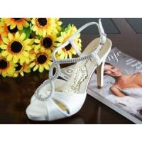 Wholesale China Wedding Shoes / White Women's Bridal Shoes with Varnished Heel for wedding from china suppliers