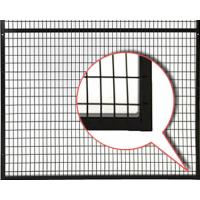 A spot welded wire mesh panel with black powder coated surface welded to steel frame.