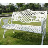 Wholesale New Design Outdoor Metal Street Steel metal Park Bench Cast Iron Bench Chair Public Seating White Flower Pattern Sofa from china suppliers