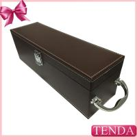 Wholesale Luxury Shiny Handle Brown PU Faux Genuie Leather Wine Box for Red Wine Alcohol Beverage from china suppliers