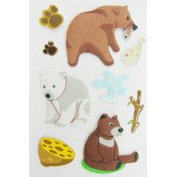 Fuzzy Puffy Custom Book Stickers , Little Bear Cute Animal Stickers For Kids