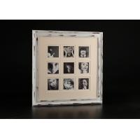 "Wholesale 9 – Openings Double Matted 4"" x4"" Collage Photo Frame In Distress White Finishing from china suppliers"