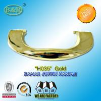 Wholesale Gold color Zinc Metal Coffin Handles Coffin Hardware H035 zamak coffin handle size 21*7.5 cm from china suppliers