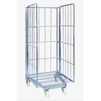 Quality Iron Wire Roll Container Collapsible Rolling Cart / warehouse cage for sale