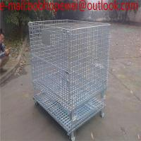 Wholesale Stackable Wire ContaStacking Storage Warehouse logistics cages For Forklift/Metal Bin Storage Container from china suppliers