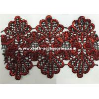 Wholesale Red Scallop Edge Water Soluble Lace Trim Floral Shape 14.5 Yards One Roll from china suppliers